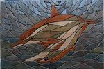 Mosaikkunst aus Fliesenstücken auf Netz,zur Verlegung an Wand oder Boden,60/90cm, VERKAUFT, auf KUNDENWUNSCH auch in anderer Grösse und Farbe herstellbar