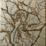 Mosaikkunst aus Fliesenstücken auf Netz,zur Verlegung an Wand oder Boden,86x86cm,VERKAUFT, auf KUNDENWUNSCH auch in anderer Grösse und Farbe herstellbar