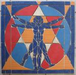 Mosaikkunst aus Fliesenstücken auf Netz, zur Verlegung an der Wand, 60 / 60 cm, PREIS auf Anfrage, auf KUNDENWUNSCH auch in anderer Grösse und Farbe herstellbar