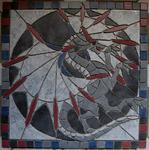 Mosaikkunst aus Fliesenstücken auf Netz,zur Verlegung an Wand oder Boden,60/60cm, PREIS auf Anfrage ,auf KUNDENWUNSCH auch in anderer Grösse und Farbe herstellbar