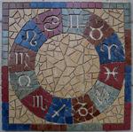 Mosaikkunst aus Fliesenstücken auf Netz,zur Verlegung an Wand oder Boden,60/60cm, VERKAUFT, auf KUNDENWUNSCH auch in anderer Grösse und Farbe herstellbar