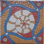 Mosaik aus Fliesenstücken auf Netz, zur Verlegung an der Wand, 60 / 60 cm,VERKAUFT, auf KUNDENWUNSCH auch in anderer Grösse und Farbe herstellbar