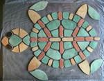 Mosaikkunst aus Fliesenstücken auf Netz,zur Verlegung an Wand oder Boden,100cm,VERKAUFT, auf KUNDENWUNSCH auch in anderer Grösse und Farbe herstellbar