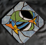 Mosaik aus Fliesenstücken auf Netz, zur Verlegung an der Wand, 24,5/24,5 cm ,VERKAUFT, auf KUNDENWUNSCH auch in anderer Grösse und Farbe herstellbar