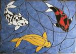 Mosaikkunst aus Fliesenstücken auf Netz,zur Verlegung an der Wand ,100x70cm, VERKAUFT, auf KUNDENWUNSCH auch mit anderen Kois, Grösse und Farbe herstellbar