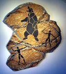 """Mosaikkunst aus Fliesenstücken auf Spanplatte,rechtes Bild des Triptychons """"Steinzeit-Die Jagd"""",mit Aufhängevorrichtung, 75 / 90 cm, UNIKAT, PREIS auf Anfrage"""