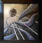 Mosaik aus Fliesenstücken auf Spanplatte, M.Haag 2004, 95/90cm, UNIKAT, UNVERKÄUFLICH !