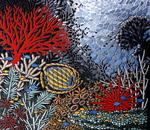 Mosaikkunst aus Fliesenstücken auf Spanplatte, mit Aufhängevorrichtung, 90/80 cm , UNIKAT, PREIS auf Anfrage