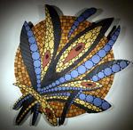Mosaikkunst aus Fliesenstücken auf Spanplatte,mit Aufhängevorrichtung, 81/81cm, UNIKAT, PREIS auf Anfrage