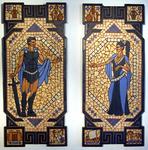 Mosaikkunst aus Fliesenstücken auf Spanplatte,mit Aufhängevorrichtung, 2* 90/40 cm, UNIKAT, PREIS auf Anfrage