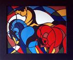 Mosaikkunst aus Fliesenstücken auf Spanplatte,mit Aufhängevorrichtung, 58 / 70 cm, UNIKAT, PREIS auf Anfrage