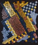 Mosaikkunst aus Fliesenstücken auf Spanplatte,mit Aufhängevorrichtung, 88/79 cm, UNIKAT, PREIS auf Anfrage