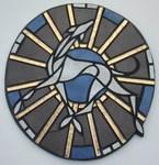 Mosaik aus Fliesen und Gold-Glasstäben auf Holzplatte,40x37cm,VERKAUFT